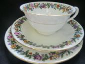 Aynsley Burgundy / gilt tea trio